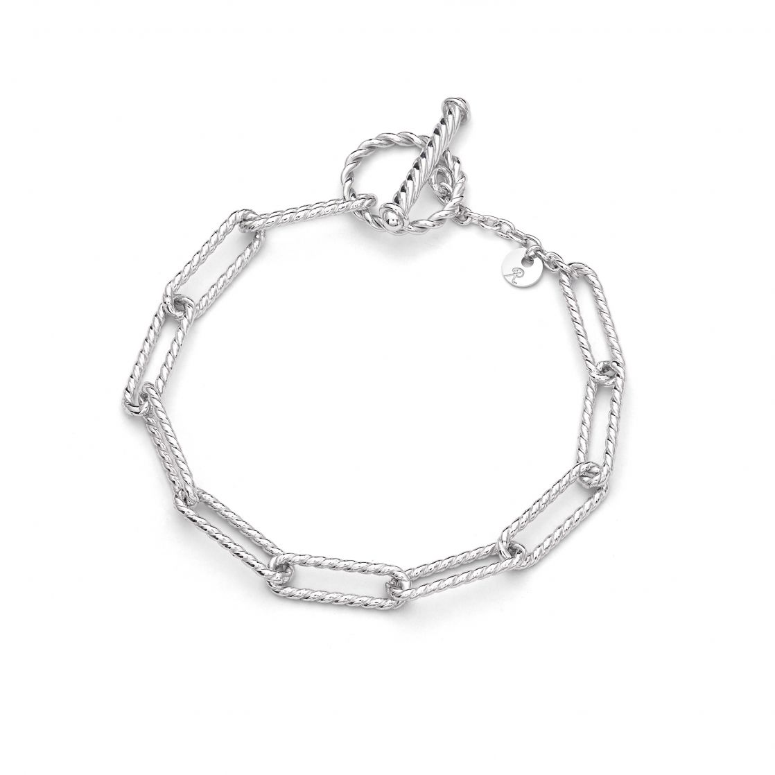 Silver Diamond Cut Chain Bracelet