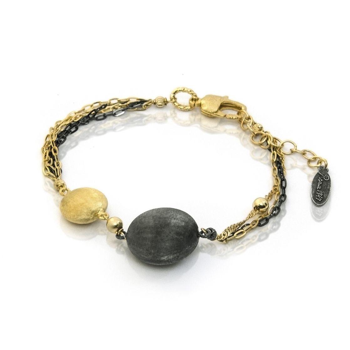 Bronze Two Tone Multi Strand Stationed Bracelet