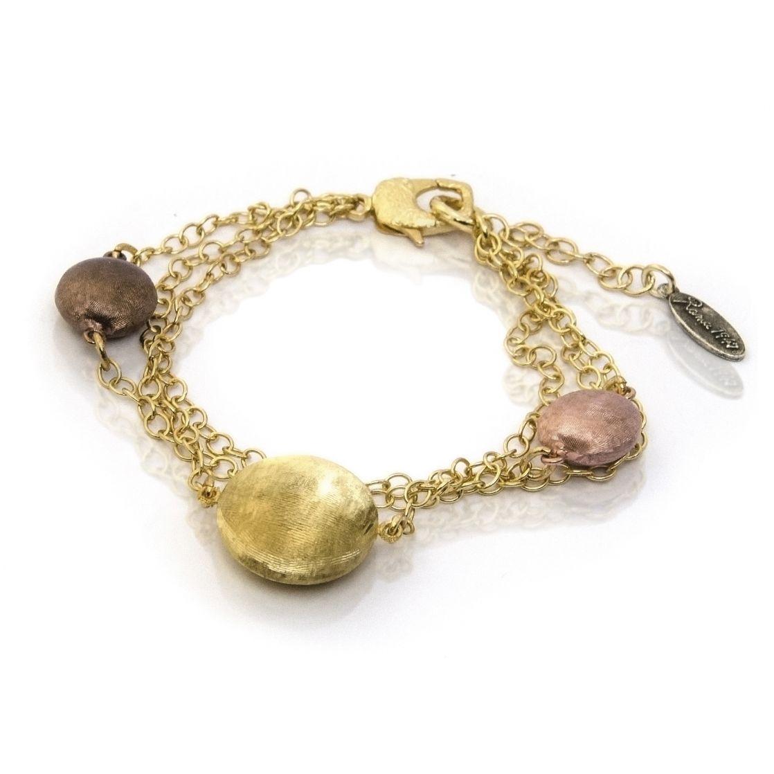 Bronze Three Tone Multi Strand Stationed Bracelet