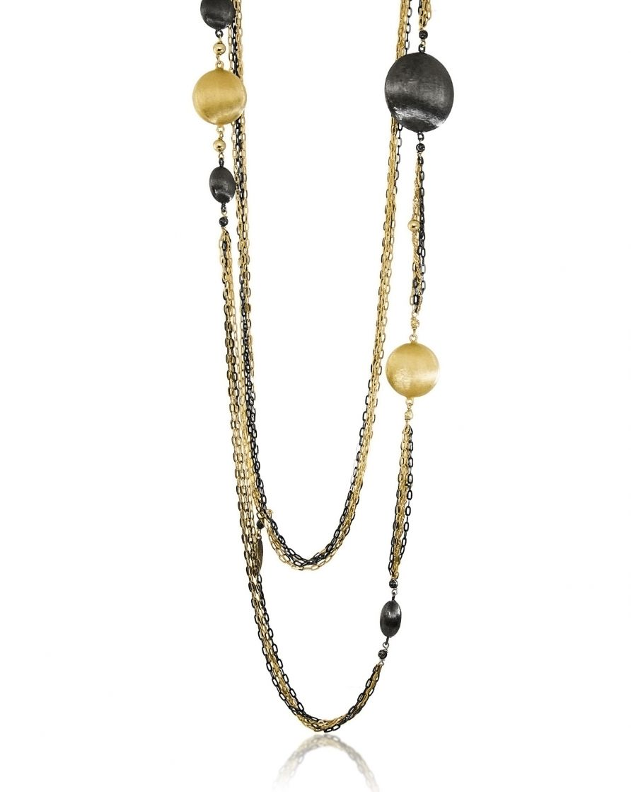 Bronze Two Tone Multi Strand Stationed Necklace