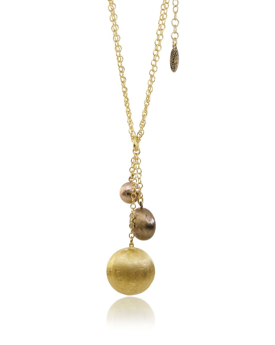 Bronze three tone multi strand necklace