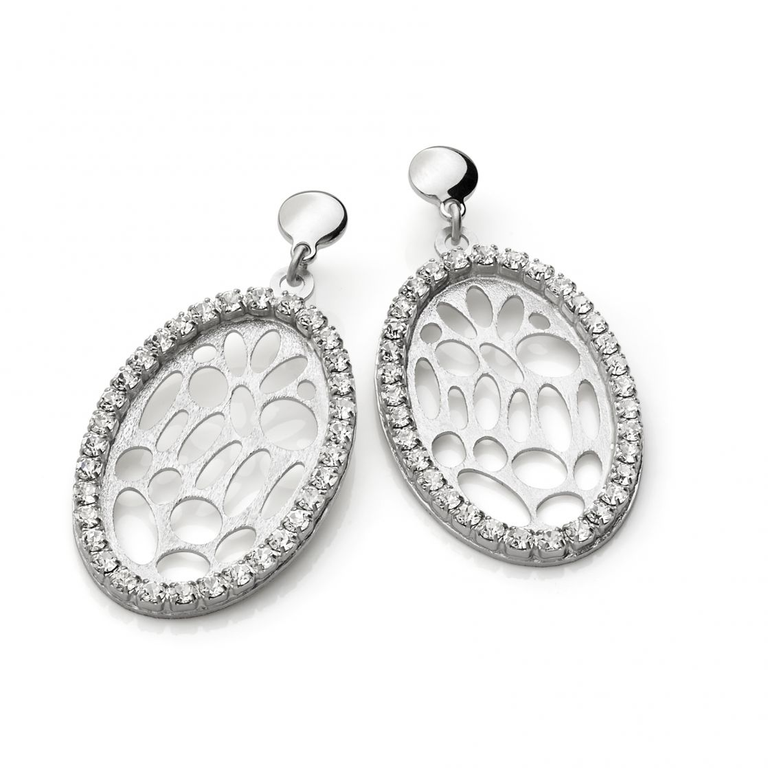 Oval drop earrings with rhodium plating and strass