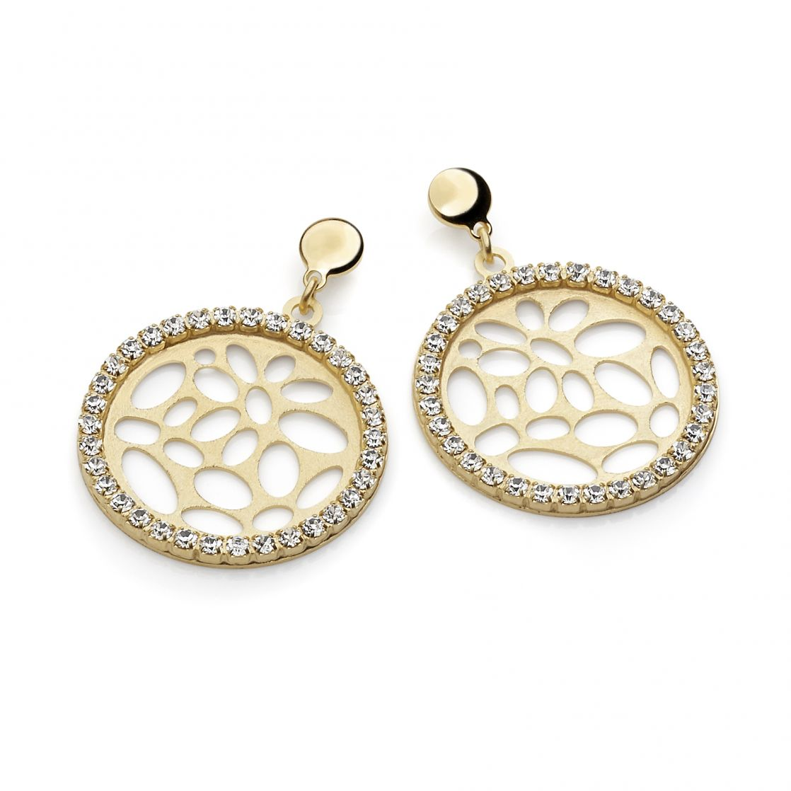 ROUND EARRINGS YELLOW GOLD PLATING