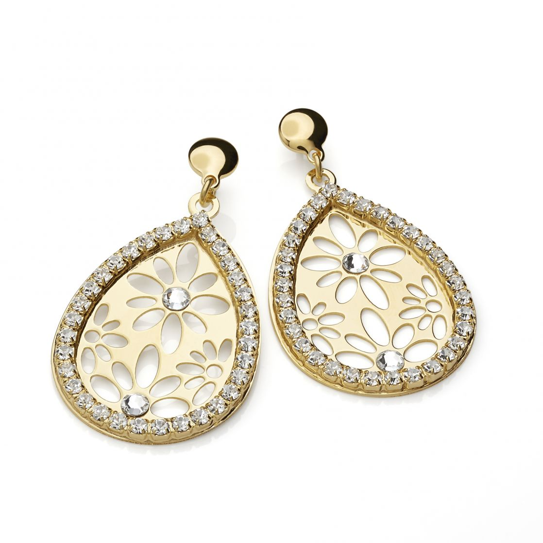 DROP-SHAPED EARRINGS YELLOW GOLD PLATING WITH CRYSTALS AND STRASS