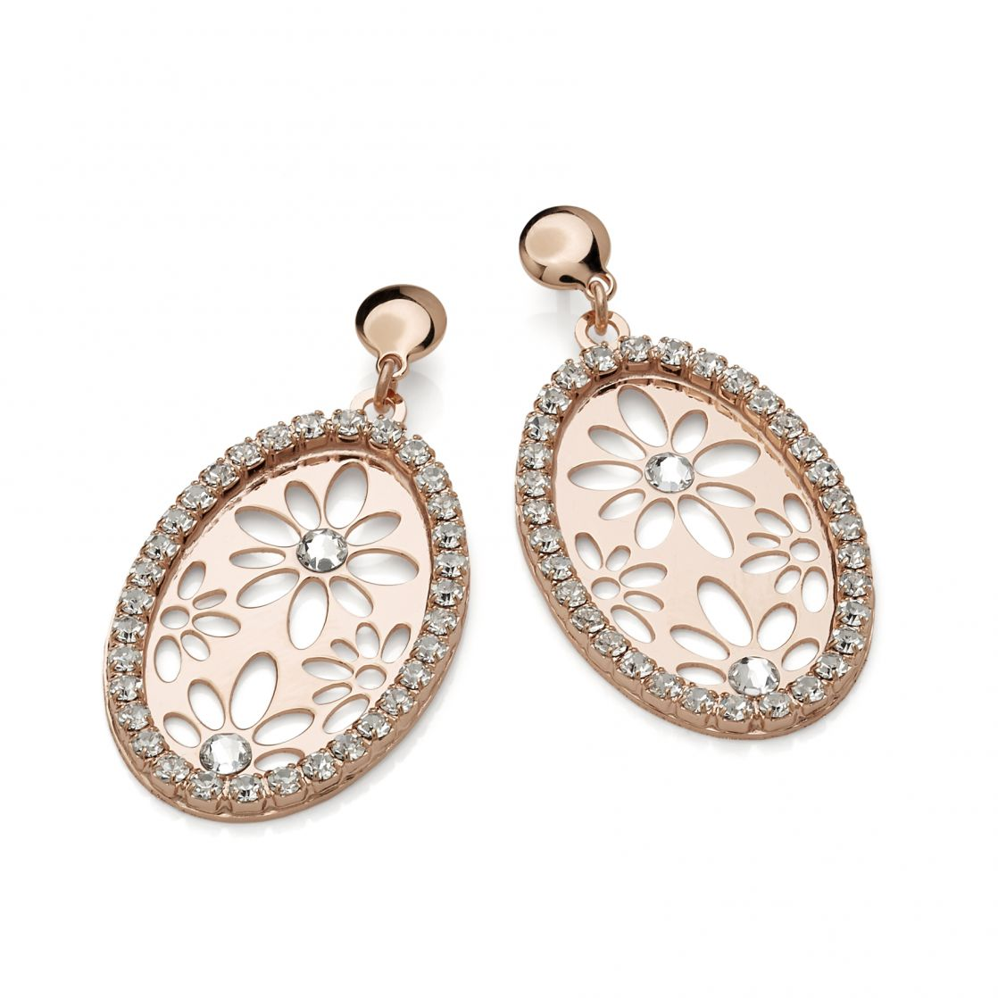 OVAL EARRINGS ROSE GOLD PLATING WITH STRASS AND CRYSTALS