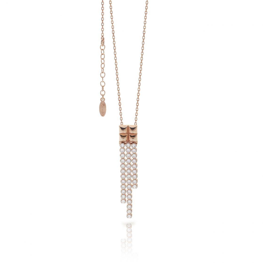 Rock necklace with cz strips