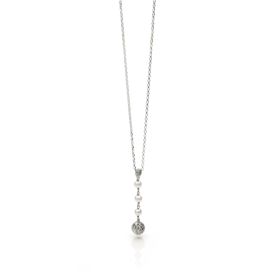 Sphere & Pearl Pendant Necklace