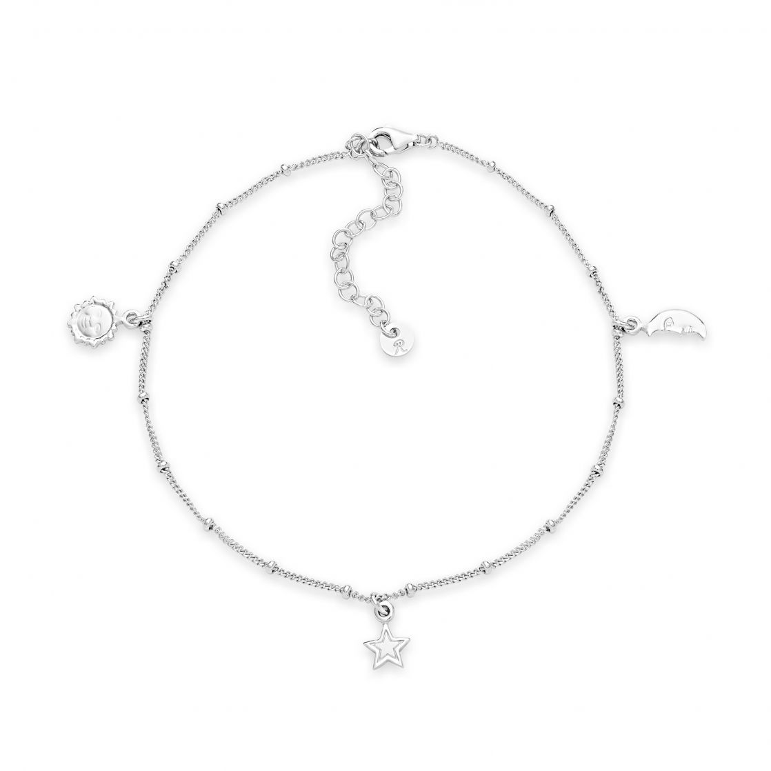 Anklet with moon star and sun