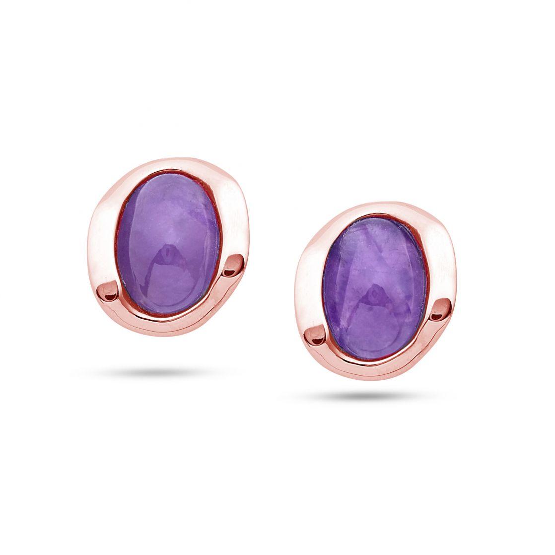 Stud earrings with amethyst