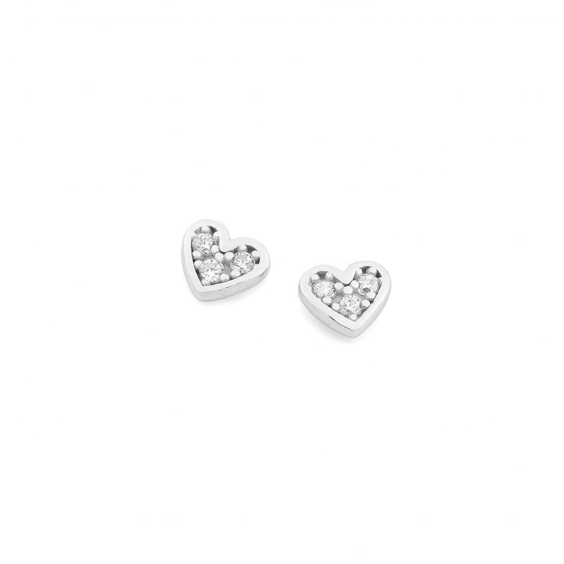 Pave' Heart Stud Earrings