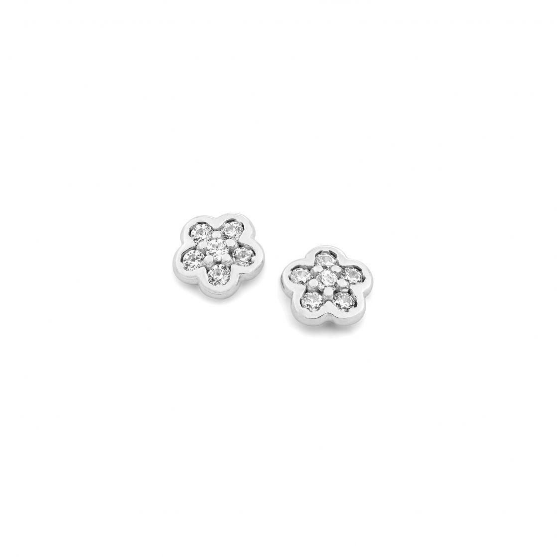 Pave' flower earrings