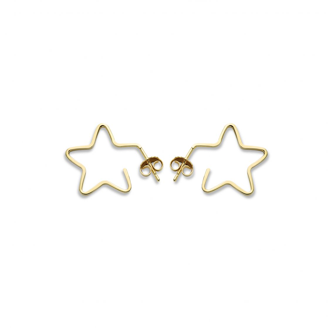 Yellow gold star hoops