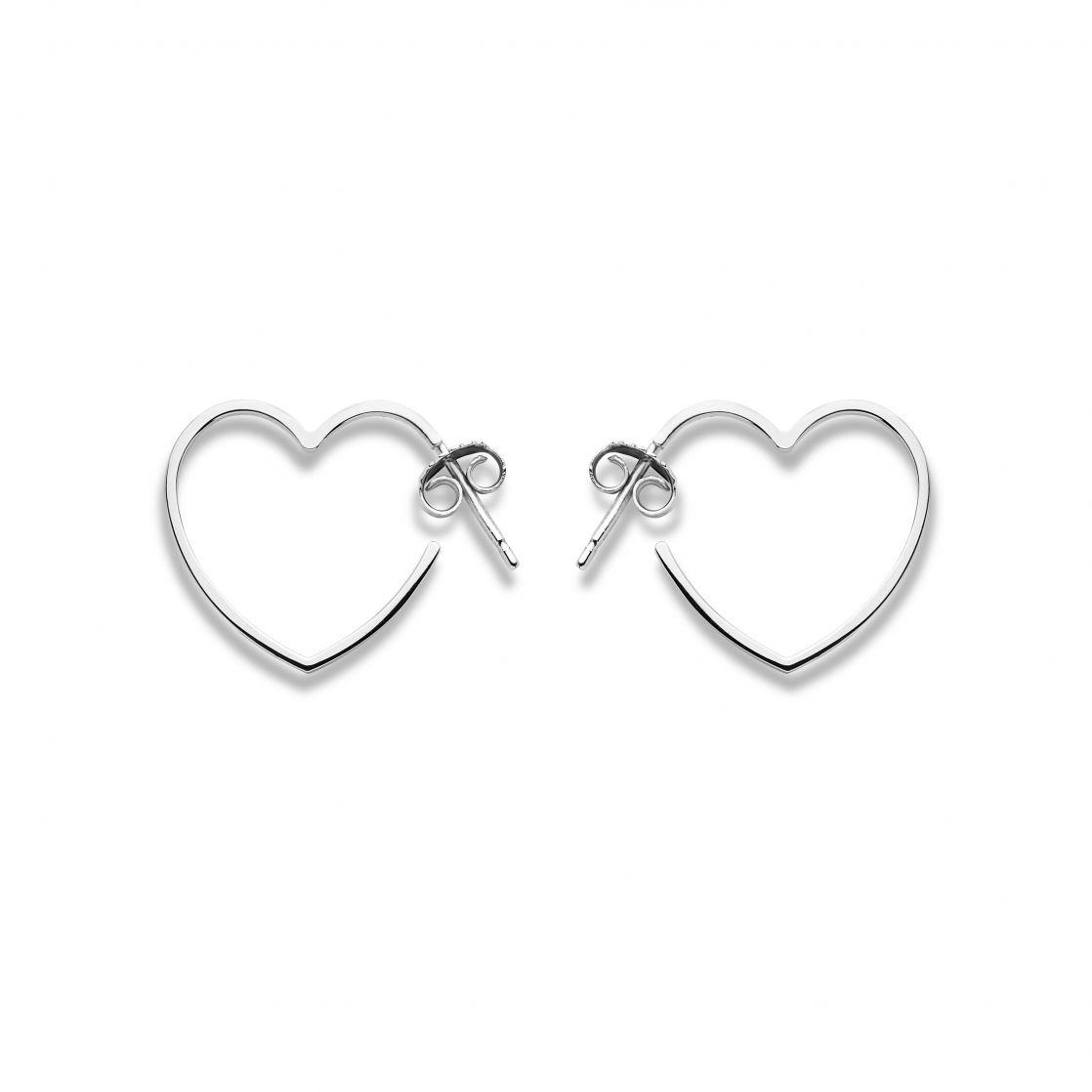 Sterling silver heart hoops