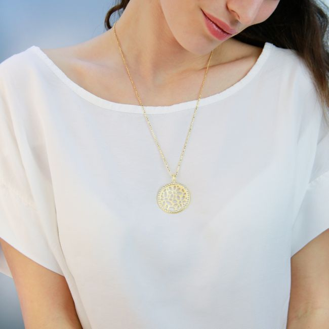 Gold plating round necklace