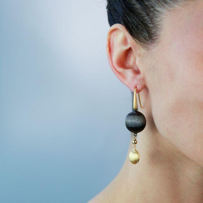 Bronze Two Tone Bead Drop Earrings