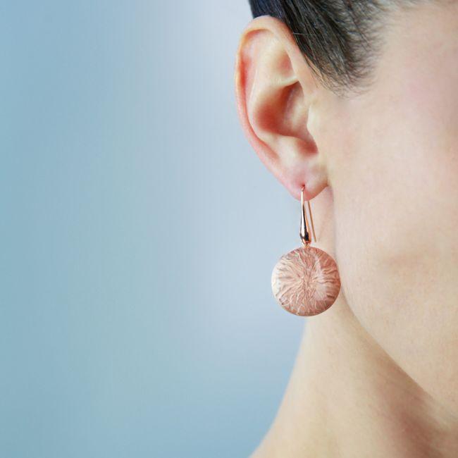 Rose enamelled earrings