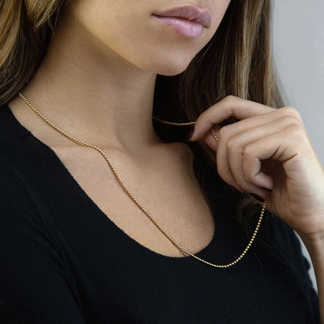 Yellow Gold Necklace With Beads Chain