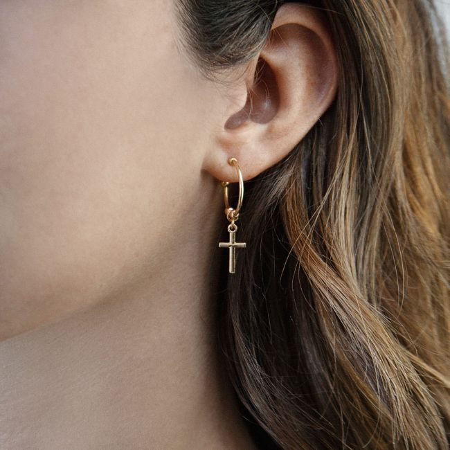 Cross pendant earrings