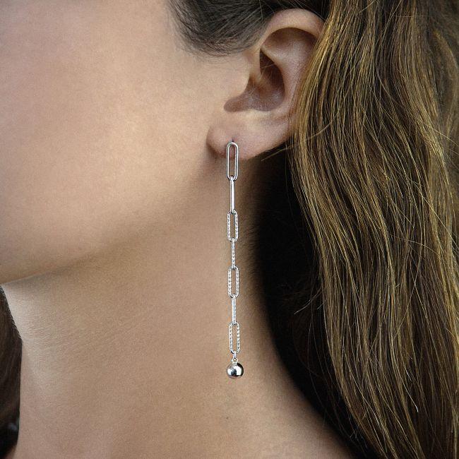 STERLING SILVER DIAMOND CUT CHAIN EARRINGS
