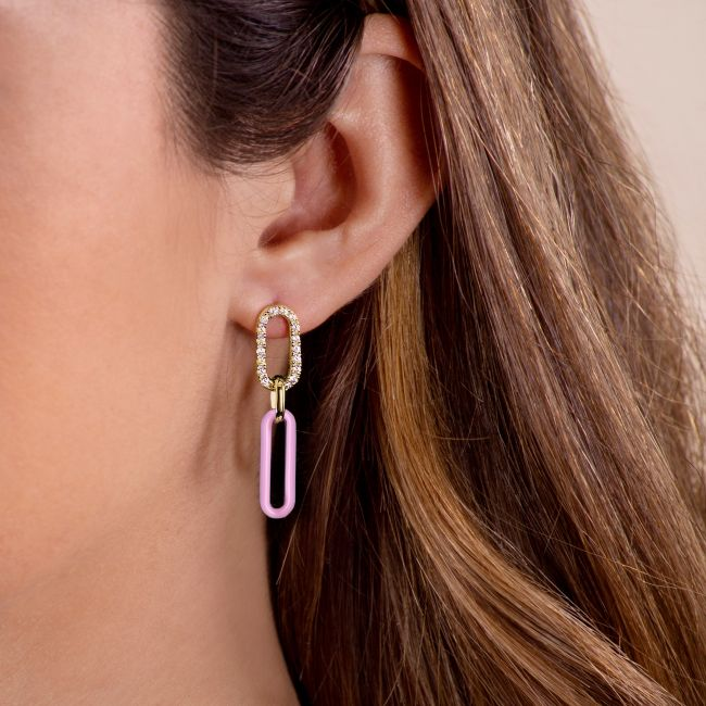 Earrings with rose link