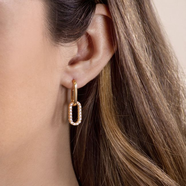 Earrings with pave' link