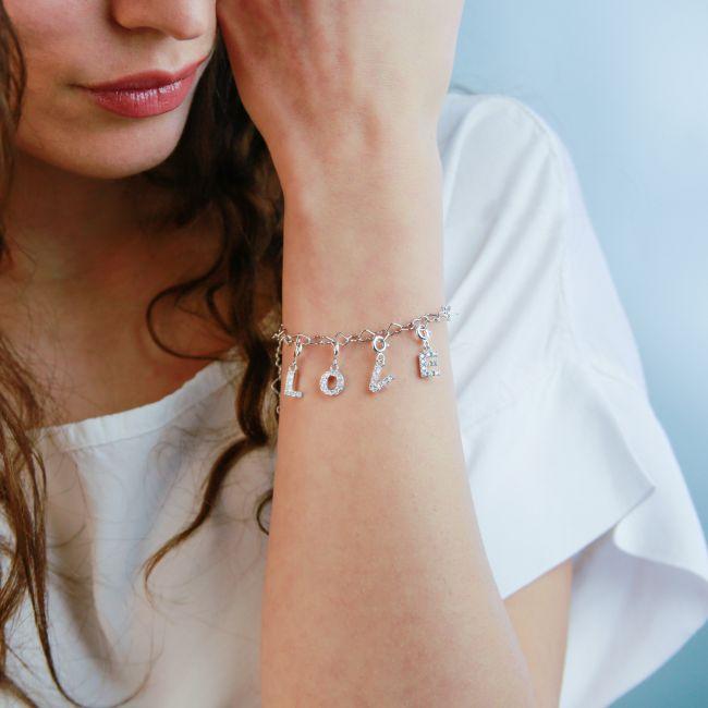 """Charm lettera """"h"""" con cristalli"""