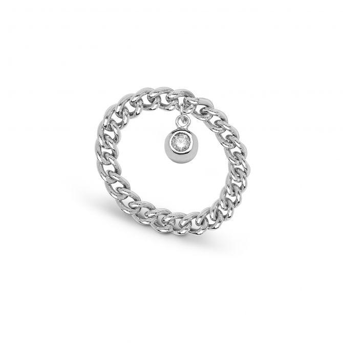 Anello con catena e punto luce pendente