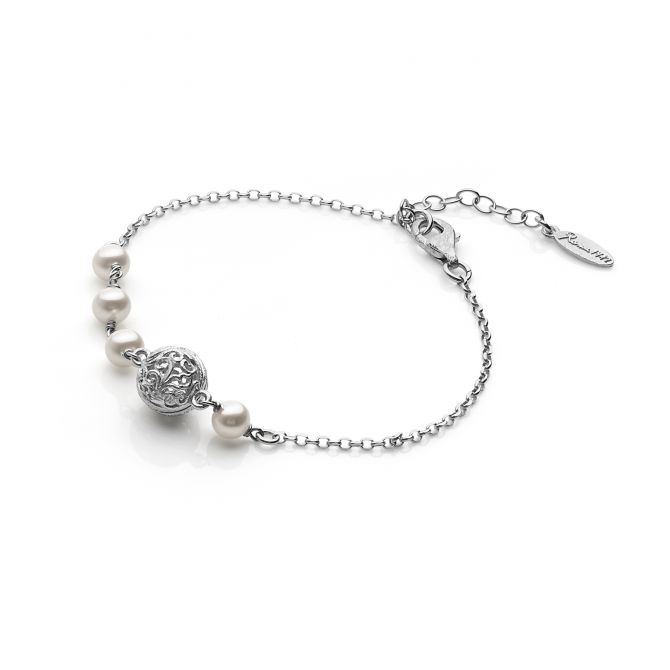 DAMASK BEAD AND FRESHWATER PEARLS BRACELET
