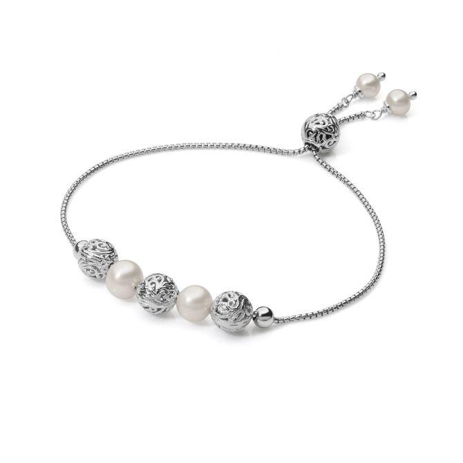 Sliding bracelet with pearls