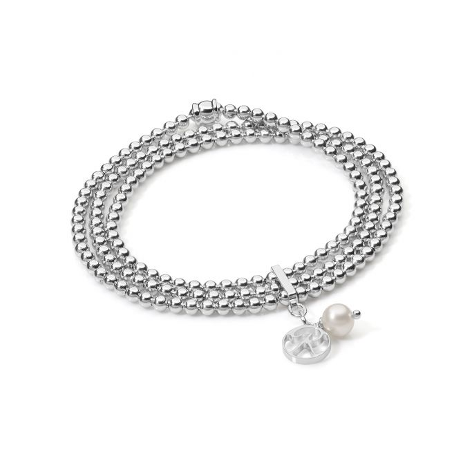 Multirow elastic bracelet with pearls