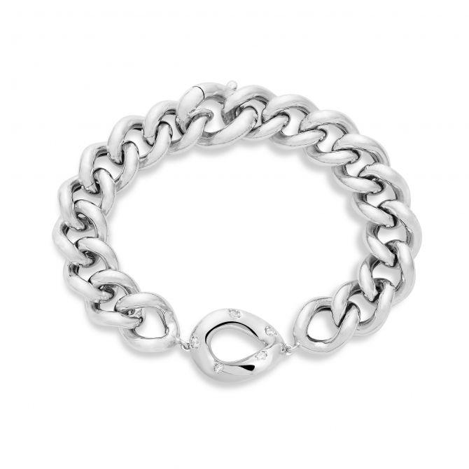 Curb link bracelet with white cz