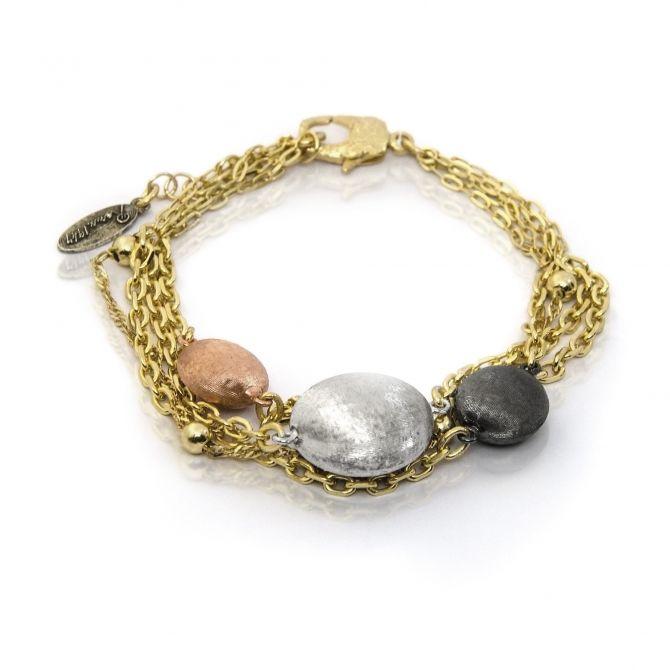 Bronze four tone multi strand stationed bracelet