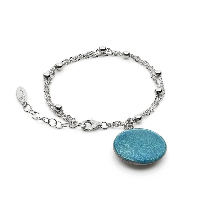 Bangle with light blue enamelled pendant