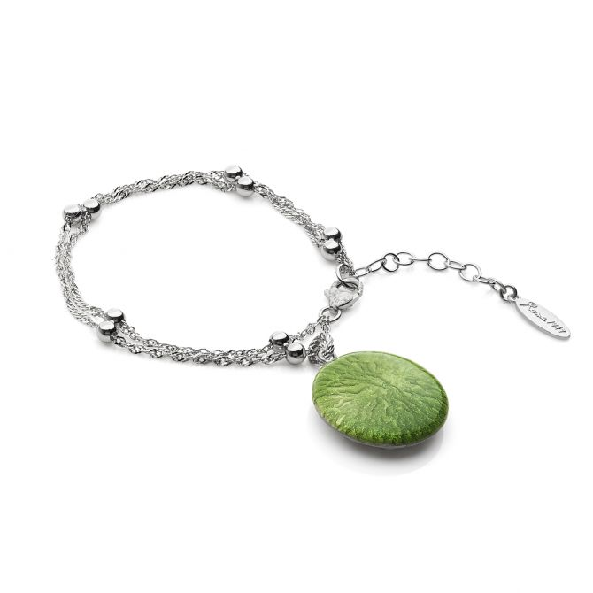 Bangle with green enamelled pendant