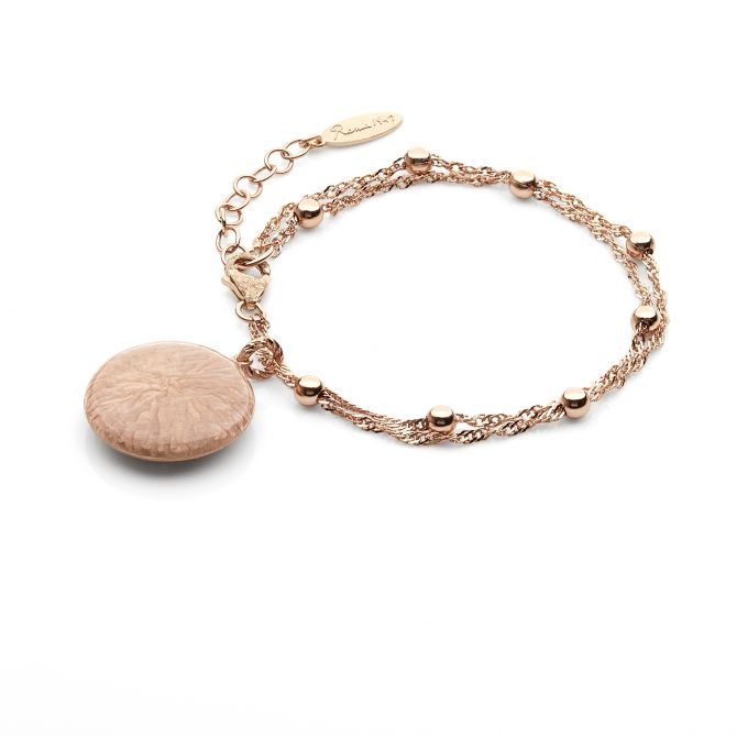Bracelet with rose enamelled pendant