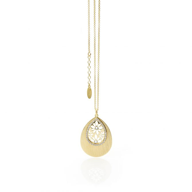 Yellow gold necklace with drop-shaped pendant