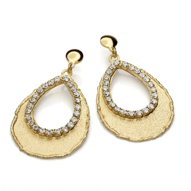 Drop-shaped earrings yellow gold plating and white crystals