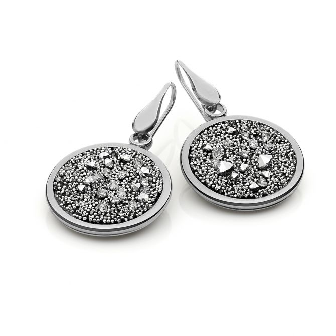 MELODIA ROUND EARRINGS AND SILVER SWAROVSKI MEDLEY