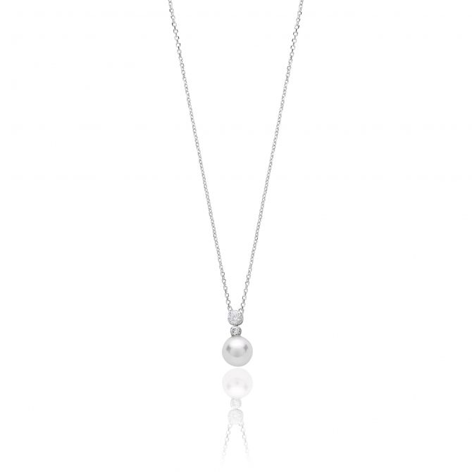 Necklace with cz and crystal pearl