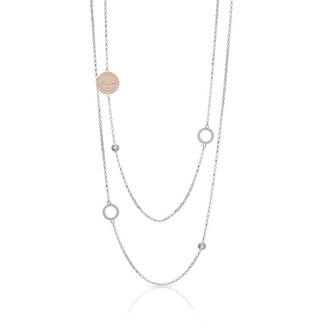 STERLING SILVER WITH WHITE CUBIC ZIRCONIA MULTIROW NECKLACE