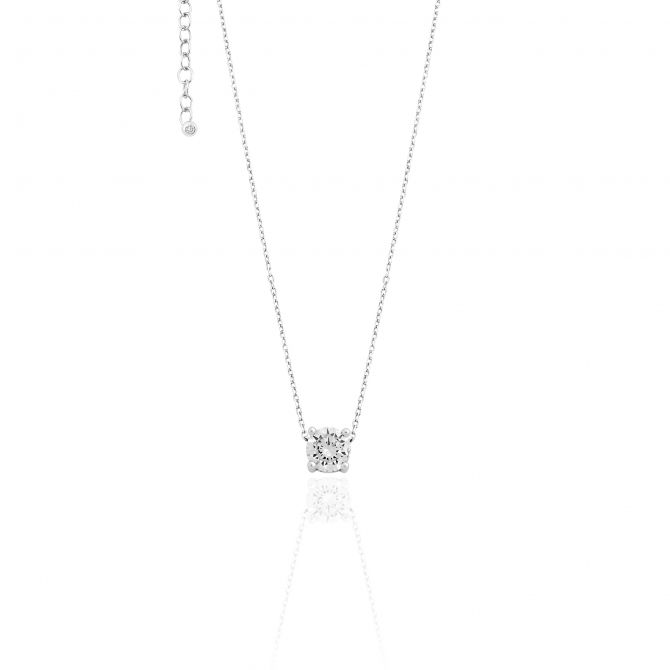 Necklace With Cz Pendant 6mm