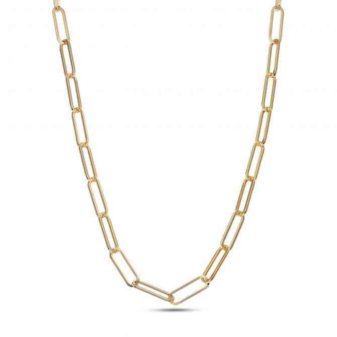 Paper Clip Square Chain Necklace