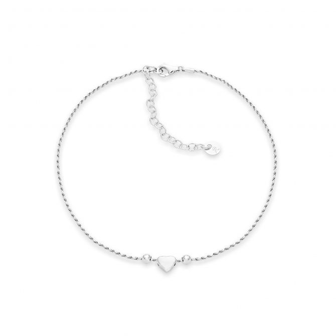 ANKLET WITH HEART AND BEADS