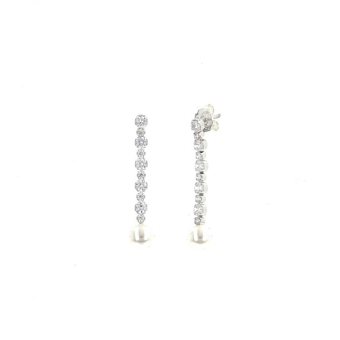 Earrings with zirconia and crystal pearl