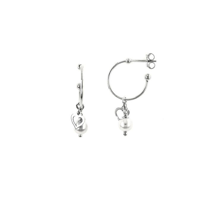Earrings with pearl and little heart