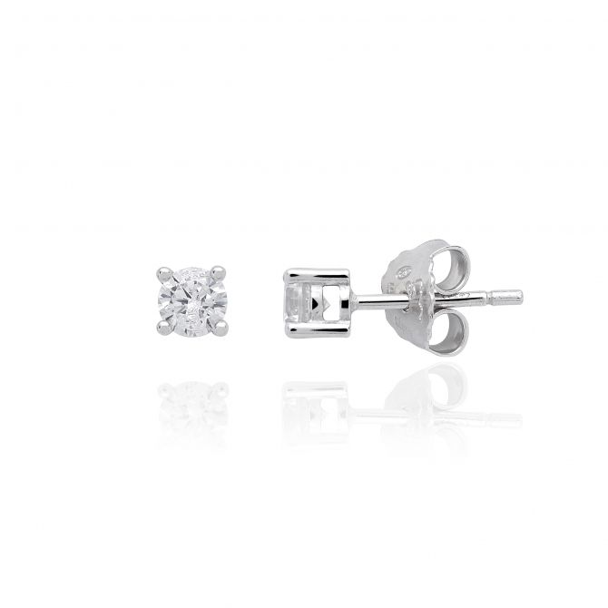 Stud earrings with white c.z