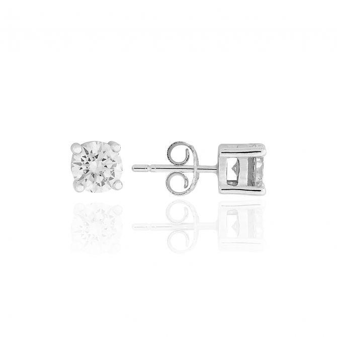 Stud earrings with c.z 6mm