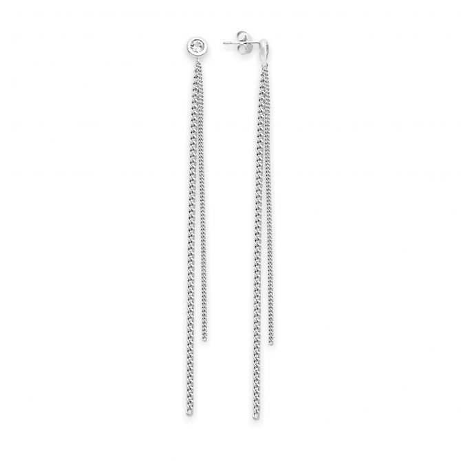 Earrings With Chain And Cz
