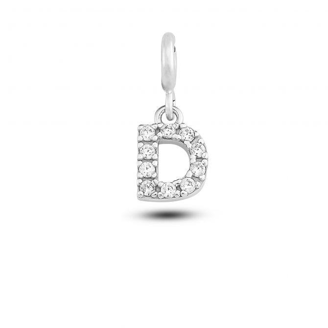 """Charm lettera """"d"""" con cristalli"""