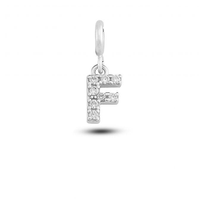 """Charm lettera """"f"""" con cristalli"""